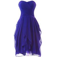 dantel mercan plaj elbisesi toptan satış-Sevgiliye Şifon Kısa Gelinlik Giydirme Plaj Kraliyet Mavi Lavanta Mercan Nane 2017 Diz Boyu Düğün Parti Elbise Lace Up
