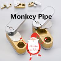 Wholesale Nails Monkeys - Brass Metal Twist With Stash Fisherman #039;s Friend Monkey Pipe Metal Pipe Herb Pipe Smoke Tool Quartz Titanium Nail 031