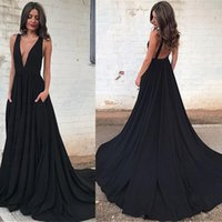 Wholesale Hote Sexy Dress - Hote sale Fashion Black A-line Prom Dresses Sexy Deep V-neckline Glamorous Backless Prom Party Dresses Simple Evening Prom Gowns Custom Made