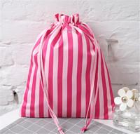 Wholesale large ladies underwear - Women Love Pink Drawstring Bags Portable Large Capacity Makeup Bag Phone Underwear Storage Bag for Girls Ladies Travel Shopping