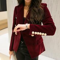 Wholesale Velvet Woman Jackets - New Spring Fashion Women Midnight Navy Slim Velvet Blazer Jacket Double Breasted Simple Lady Blazers High Grade OL Clothing