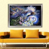 Wholesale Fairies Oil Paintings - YGS-391 DIY Partial 5D Diamond Embroider The Fairy Round Diamond Painting Cross Stitch Kits Diamond Mosaic Home Decoration