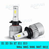 Wholesale H4 12v - H4 H7 H13 9006 9005 H11 9004 9007 9012 Car COB LED 72W 8000LM Headlights Bulb HeadLamp Fog Light 6500K Pure White 12V