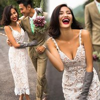 online shopping Lace Short Beach Wedding Dress - Simple Short Wedding Dresses White Lace Spaghetti Sheath Beach Bridal Gowns Tea Length Wedding Vestidos Cheap Dress