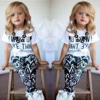 Wholesale Kids I - 2017 Girls Clothes Baby Girls kids Stripe summer clothes set I Woke Up Like This Toddler shirt Pants 2Pcs suits children clothing sets