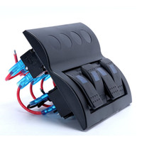 Wholesale marine boat switches - 4 gang Rocker breaker Switch Panel 12V 24v 3p 1Led for marine boat