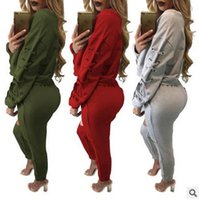 Wholesale New Style Women S Tracksuit - 2017 New Arrival Womens Clothing Low Price Casual Wear spring style sweat shirt Print tracksuit women Long Pants Set Sports Suit Cotton Suit