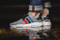 Wholesale Classic Golf Shoes - High quality NMD Runner R1 Primeknit PK Tri-Color Red white blue Men Women Running Shoes Classic sports Sneakers Shoes us 5-10 free shipping