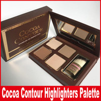 Wholesale highlighter face - COCOA Contour Kit Highlighters Palette Nude Color Cosmetics Face Concealer Makeup Chocolate Eyeshadow with Contour Buki Brush