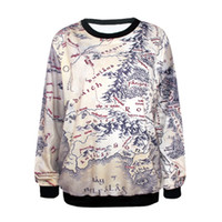 Wholesale Lord Rings Map - Wholesale- Fashion Lord of The Rings Hoodie Middle Earth Map Punk Women Sweatshirt 3D Floral Print Heart Breaker Printed Casual Hoodies
