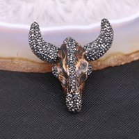 Wholesale Cattle Bull - 5pcs Fashion Bull Head Pendant, Natural Resin Cattle Head Brown Resin With Pave Crystal Rhinestone Charm Pendant