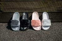 Wholesale Summer Black Sandal - With Box and Dust Bags New 2017 Rihanna Fenty Leadcat Fur Slides - Pink, Black, White Slide Sandal Womens Slippers retail