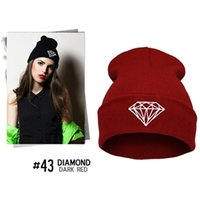 Wholesale Diamond Ear Cap - Hot Selling Unisex Fall Winter Warm Caps Diamond Printing knitting Fashion Street Hats Protect Ear Pullover Caps Hip Hop Hat Free Shipping