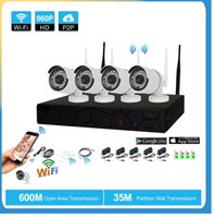 Wholesale 4pcs wireless ip camera online - 4CH CCTV System Wireless P NVR MP IR Outdoor P2P Wifi IP CCTV Security Camera System Surveillance Kit