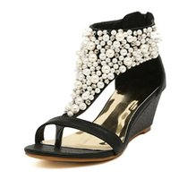 Wholesale High Heels Thong Sandals - woman fashion New Summer open toe Rhinestone zipper pearl beaded wedges thong sandals women shoes high heel Black B705221