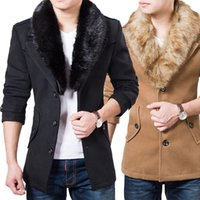 Wholesale Mens Wool Pea Coat Slim - Trench Coat Men Winter Warm Thick Woolen Blend Over c Slim Pea Mens Coat With Faux Fur Collar Wool Korean Coat