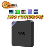 Wholesale Mini Tf 2g Cards - 2017 Mini TV Box M9S PRO 2G 8G Smart Android 6.0 HD Quad Core Amlogic Box Wireless Ethernet IPTV Box Support USB TF Card with Retail Package