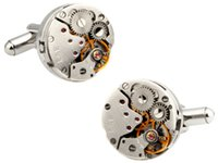 Wholesale Wholesale Mens Vintage Watches - Vintage 316 Stainless Steel Movement Cufflinks Men Steampunk Gear Watch Cufflinks Business Suits Wedding Cufflinks For Mens
