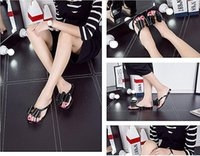 Wholesale Big Bottom Sandals - Jelly shoes three big bow tie flat bottom slippers female summer plastic sandals sandals crystal sandals