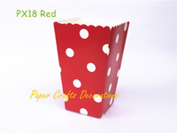 Wholesale movie candy boxes - Wholesale- 24pcs lot Red Polka Dots Party Paper Popcorn Boxes Candy Favor Bags Wedding Birthday Movie Night Party Supplies