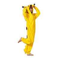 Wholesale One Piece Pajamas For Adults - Pokeman Go Pikachu Flannel One Piece Pajamas Animal Cartoon Adult Conjoined Pants Home Cosplay Casual Wear For Girls