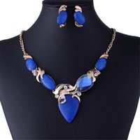 Wholesale Gold Blue Gem Earring - New Fashion Charming Vintage Geometry Gem Statement Necklace Earring Wedding Jewelry Set For Women African Beads Jewelry Set HD-009
