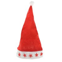 Wholesale flashing light hats online - Led Flashing Christmas Hats XMAS Santa Caps Christmas Decoration Light Up Caps Stars Non woven Christmas Cap