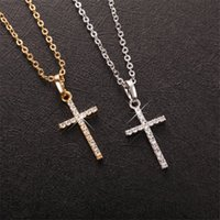 Wholesale copper crucifix - Women Necklace Pendant Brand Necklace With Chain Gold Plated Jewelry Antique Cross Crucifix Jesus Cross Pendant Necklace for Girls Women