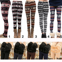 Wholesale Thick Cotton Leggings Winter - Hot Fall Winter Christma Leggings Women Fur Thick Warm Fleece Snowflake Deer Printed Lady's Black Tights Pencil Bodycon Pants 12 Colors M139