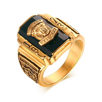 Wholesale Rings Large Stones - Men's Rock Punk Ring Gold Plated Large Black CZ Stone Ring Men Jewelry Cool Lion Head School Party Rings