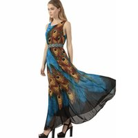 Wholesale Plus Size Animal Dress - Women Summer Beach Boho Maxi Dress 2017 Short Sleeve Peacock Feather Print Ladies Long Bohemian Dresses Plus Size S-3XL 4XL 5XL