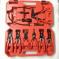 Wholesale Fuel Hose Pipe - CAR 9PCS   SET Flexible Wire Long Reach Hose Clamp Plier Car Fuel Oil Water Pipe Repairing Tool