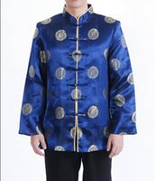 Wholesale Tai Coat - Wholesale- High Quality Blue Male Silk Jacket Chinese Tai Chi Coat Classic Printed Tang Suit Dropshipping Size S M L XL XXL XXXL M0036