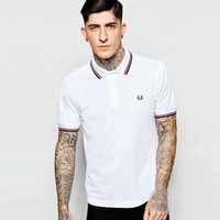 Wholesale Men S Brand Golf Polo - London Brit Men Brand Polo Shirt Male Collar Slim Solid Polos England Men Cotton Top Camisa Tennis golf Polos White Black