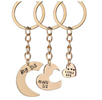 Wholesale Stylish Little Girl - New Arrival 3 pcs set letter Jewelry Gift Stylish Big Middle Little sister Keychain best friends Keyring Key Chain For Women AA178