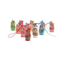 encantos animais do telefone móvel venda por atacado-Atacado-HOT Pintados à mão de madeira brinquedos boneca russa Matryoshka charme pingente de telefonia móvel bonecas de aninhamento chaveiro menina boneca crianças presente