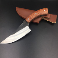 Wholesale Knife Hand Made - sharp High-carbon steel Hand made fixed hunting knife 58HRC Rosewood handle survival camping tactical rescue knife