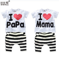 Wholesale Baby I Love Mama - Wholesale- 2016 New Summer Children Baby Clothing Sets Kids I love papa mama Clothes Suit Boys Girls T shirt Striped Pants Pajamas Sets
