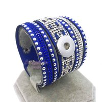 Wholesale Wholesale Korean For Men - High Quality Bling Bling 184 Korean Velvet Snap Button Bracelet Interchangeable Charm Jewelry For Women Men Fit 18mm button
