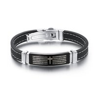 Wholesale Dropship Best Selling - 2017 Dropship Hot Sale Best Selling Bracelet Fashion Bangle Bracelet Genuine Silicone Magnetic Stainless steel Charm Men's Gift Bible Cross