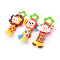 Wholesale Monkey Bedding - Wholesale- Newborn Infant Baby Happy Monkey Soft Toys Baby Rattle Tinkle Hand Bell For Tots Plush Mobiles In Baby Bed Crib Stroller