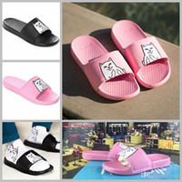 Wholesale Leather Platform Slide - 2017 Ripndip Lord Nermal Slide For Women mens Hot designer Beach Slip On Pink Black platform sandals House Slippers with originals Box 36-44