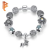 Wholesale Tibetan Style Beads Pendants - BELAWANG European Style Tibetan Silver Animal Horse Pendant Charm Bracelet With Crystal Star Beads Bracelets&Bangles for Women Jewelry Gift