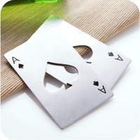 Wholesale Ace Poker - Fashion Hot Stylish Poker Playing Card Ace of Spades Bar Tool Soda Beer Bottle Cap Opener Gift
