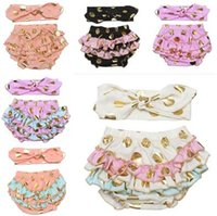 Wholesale Pink Diaper Cover - Baby Clothing Newborn Bloomers with Headbands Baby Infant Polka Dot Diaper Covers Girl Ruffle Baby Shorts 12 Colors DHL Free Shipping