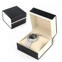 Wholesale Single Watch Display - Square black single watch boxes paper lint one slot wristwatch box watches cases with pillow jewelry display box storage box 10*10*8cm