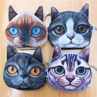 Wholesale kids cat makeup resale online - New D Print kids women purse Cute Cats Cartoon Huskie Animal Face Zipper Case Coin Purse Wallet Makeup Buggy Bag Pouch