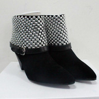 Wholesale Women Spiked Belt - 2015 Black suede simple OL All-match pointed toe Rivet ankle boots spike heels high heel Belt buckle ladies short boots