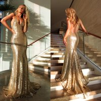 Wholesale Eevening Gowns - Latest 2017 Sexy Champagne Gold Sequined Mermaid Prom Dresses Long Cheap Halter Backless Formal Eevening Party Gowns Custom Made EN6235
