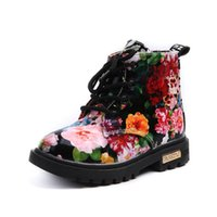 Wholesale Elegant Girls Shoes - Cute Girls Boots 2017 New Fashion Elegant Floral Flower Print Kids Shoes Baby Martin Boots Casual Leather Children Boots